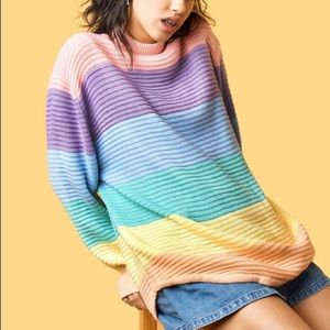 NWT Unif Frost Sweater sz M rainbow